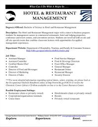 Sample Resume For Hotel Jobs Best Of Nett Restaurant Management