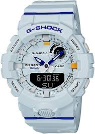 Casio Analog Watch With Light G Shock Analog Digital Step Tracker White Dial Mens Watch Gba800dg 7a