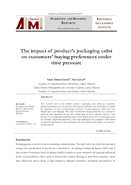Questionnaire About Packaging Design Pdf The Impact Of Products Packaging Color On Customers