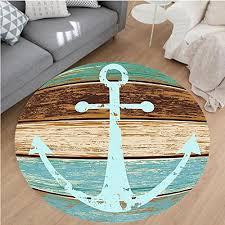 nalahome modern flannel microfiber non slip machine washable round area rug ime sea ocean coastal antiqued aged decor digital print fashion art work teal
