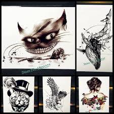 черная кошка зуб водонепроницаемый временные татуировки наклейки