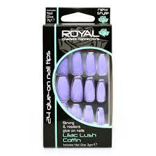 Royal Cosmetic Royal Fialové Umělé Nehty Nalepovací S Lepidlem Lilac Lush Coffin 24 Glue On False Nails Tips 24ks S Lepidlem 3g