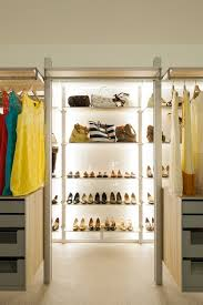 Picturesque Women Walk In Closet Design With Cool Open Racks As Shoes  Storage And Clothes Bar As Modern Interior Decors