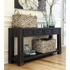Black sofa table with drawers 42 Inch Ashley Gavelston Console Table In Black Cymax Console Tables Cymax Stores