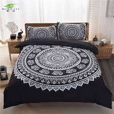 mingjie brand bohemian bedding sets boho style queen size black white purple printing duvet cover set quilt cover bed linen grey bedding boys bedding from
