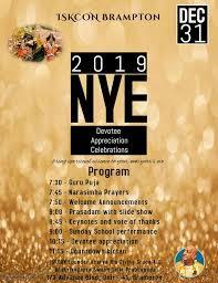 New Year Eve Celebrations - 31st Dec 2018 7pm onwards ~ ISKCON Brampton