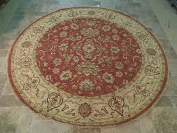 details about tomato red chobi round rug eastern oriental handmade 8 x 8 vegetable dyed carpet