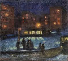 huariqueje winter night valentine ivanovich altanets 1971 russian 1936 1995 city paintingoil