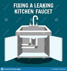 Fixing Leaking Kitchen Faucet Vector Banner Stock Vector
