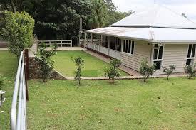 a garden outside mapleton falls farm house