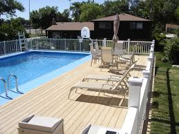 Wood Pool Deck Small Yard Above Ground Pool Designs Above Ground Swimming Pool