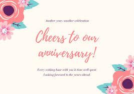 Anniversary Template Wish Card Template Customize 87 Anniversary Card Templates Online
