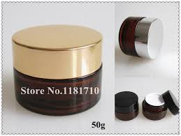 whole 100pcs lot 50g amber glass jar 50cc brown cream bottle cosmetic container with gold silver black lid free in cotton swabs from beauty