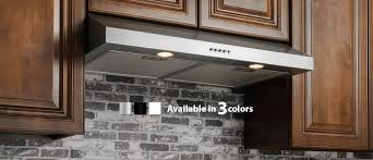 positioned directly under a kitchen cabinet these stainless steel range hoods are subtle but sy and suitable for kitchen designs ranging from spacious