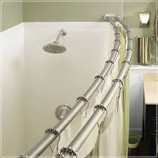 brushed nickel curved shower curtain rod