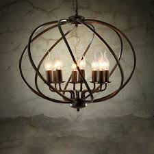 industrial vintage metal cage chandelier large orb candle foyer pendant light
