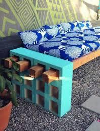 Outdoor: Beautiful DIY Cinder Block Bench - Outdoor Bench