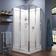 W Kit, with Corner Sliding Shower Enclosure in Chrome, White Acrylic Base  and Backwalls