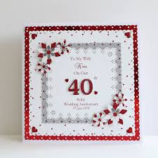 details about 40th ruby wedding anniversary card wife husband mum dad etc personalised 8x8