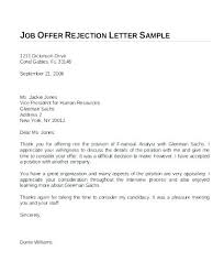 Job Offer Rejection Letter Sample Free Job Offer Acceptance Letter Employment Email Template Literals