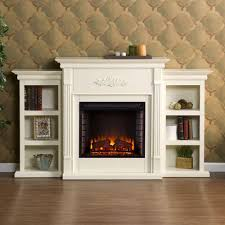 jackson 70 25 in freestanding electric fireplace in ivory with bookcases