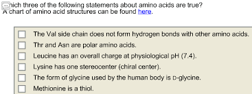 Lysine Chart Solved Which Three Of The Following Statements About Amin
