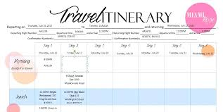 Itinerary Travel Template Itinerary Template Excel Free Travel Itinerary Template Excel Travel