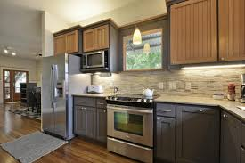 two tone kitchen cabinets brown and white modern counter shape storage all bright cabinet kits solid