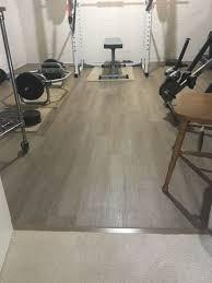 luxury vinyl plank in home gym