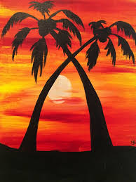 we will be painting this palm tree sunset painting but if you d prefer to choose your own canvas you can can select from our walk in gallery of canvas
