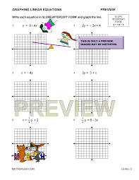 level 3 preview print answers preview of math worksheet on graphing linear equations