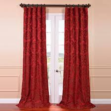 astoria red and bronze faux silk jacquard curtain panel 50
