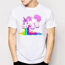 Cute T Shirt Design Ideas Novelty Harajuku Design Unicorn Puke T Shirt Mens Fashion Cool Tops Cute Tee Shirt