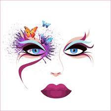 makeup face sketch colorful splashing watercolors free vector in adobe ilrator ai ai