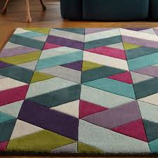 funk chevron blue green geometric rug by asiatic