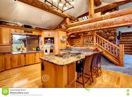 Cabin Kitchen Log Cabin Kitchen Interior Design With Honey Color Cabinets Stock