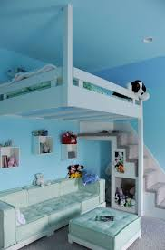 cool bedrooms with stairs. Blue Hanging Loft Bed For Kids Cool Bedrooms With Stairs S