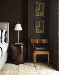 steven gambrel masculine modern bedroom--dark brown walls, upholstered bed,  abstract art | BRGRN | Pinterest | Dark brown walls, Gambrel and Brown walls