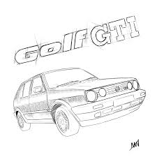I've been sketching my old cars here's my mk2 8v golf gti from 1994