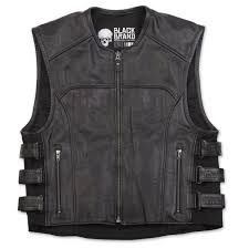 black brand men s ice pick perforated black leather vest