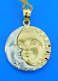 sun and moon pendant charm 14k 2 tone