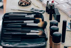 makeup brushes on a table