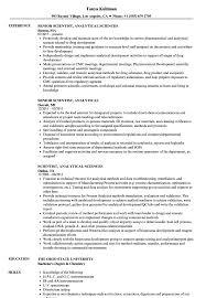 Scientist, Analytical Resume Samples | Velvet Jobs