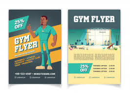 Flyer Template For Pages Sport Club Fitness Center Bodybuilding Gym Cartoon Price