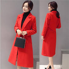 winter coat women 2016 autume lapel wool blend coats plus size long red trench coat outwear