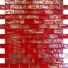 Red Kitchen Tile Backsplash Details About 1sf Red Iridescent Subway Glass Mosaic Tile