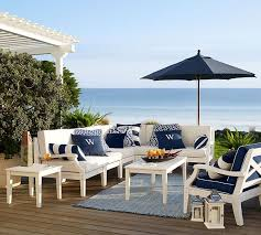 preppy navy and white patio furniture make for the perfect seaside setting balcony furniture miami