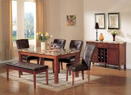 Marble Top Kitchen Table Set Acme Bologna 6 Pc Marble Top Rectangular Dining Table Set In Brown