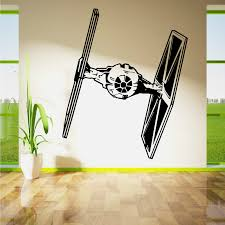 d270 star wars tie fighter wall art vinyl sticker room removable decal stencil wall poster spaceship mural kids room decor in wall stickers from home