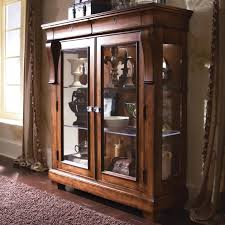 small square wood freestanding display cabinet with glass doors and three shelves attractive display cabinets